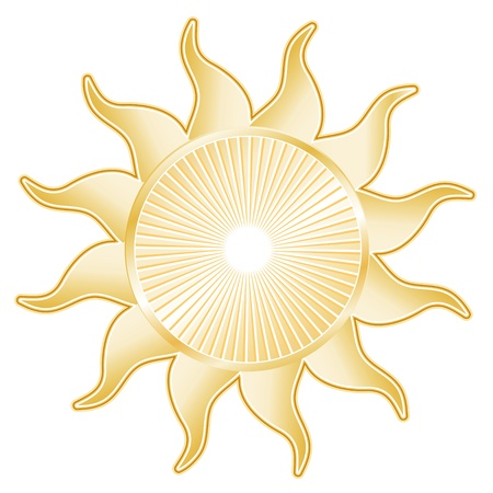 sol: Golden Sun Rays isolated on white background  Illustration