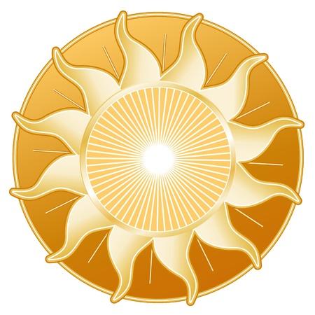 Golden Sun Rays isolated on white background  Ilustração