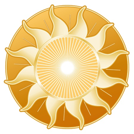 Golden Sun Rays isolated on white background  Vector