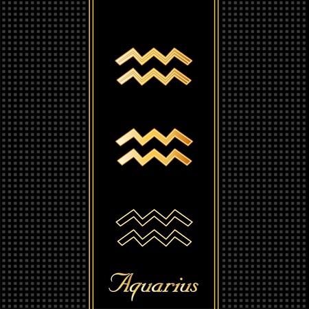 omen: Aquarius Astrology Symbols, three silhouette styles, black textured background