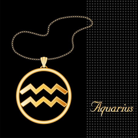 on air sign: Aquarius Gold Necklace and Chain, astrology air sign symbol silhouette, textured black background  Illustration