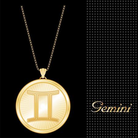 Colgante Collar de Oro de Géminis y la cadena, grabado el símbolo astrológico signo de aire, estrella estalló patrón de diseño, fondo negro con textura Ilustración de vector