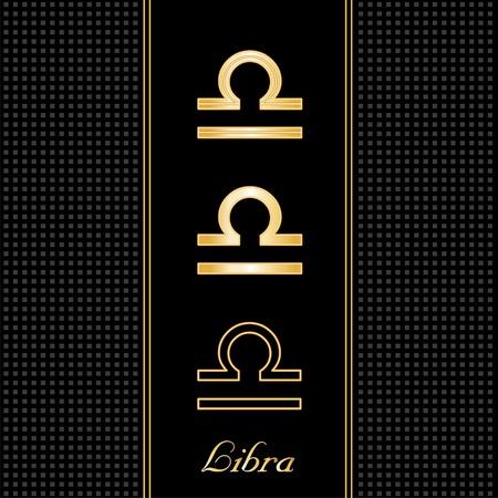 Libra Astrology Symbols, three silhouette styles, black textured background  イラスト・ベクター素材