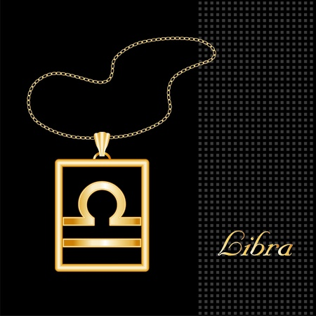 gold necklace: Libra Gold Necklace and Chain, astrology air sign symbol silhouette, textured black background  Illustration