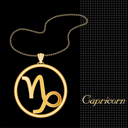 gold necklace: Capricorn Gold Necklace and Chain, astrology earth sign symbol silhouette, textured black background