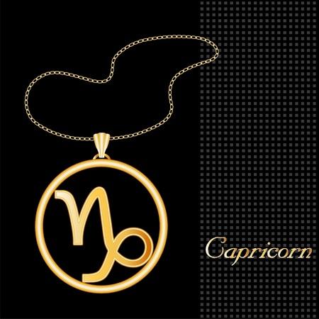capricornio: Capricornio Collar de Oro y la cadena, la astrología signo de tierra símbolo silueta, fondo negro con textura