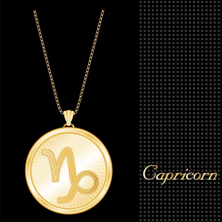Capricorn Pendant Gold Necklace and Chain, engraved astrology earth sign symbol, star burst design pattern, textured black background  Vector