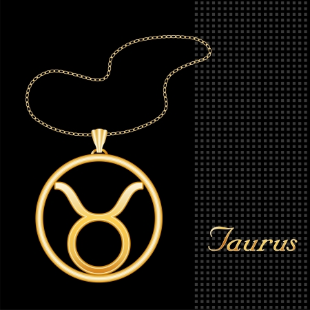 Taurus Gold Necklace and Chain, astrology earth sign symbol silhouette, textured black background  Vector