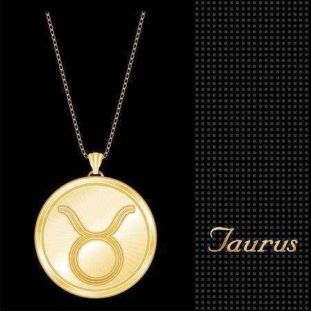 Stier Anhänger Gold Collier und Kette, graviert Astrologie Erde symbol, Sterne Burst-Design-Pattern, strukturiert schwarzem Hintergrund Illustration