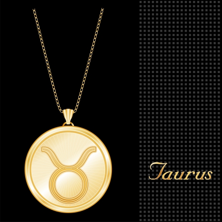 Taurus Pendant Gold Necklace and Chain, engraved astrology earth sign symbol, star burst design pattern, textured black background  Illustration