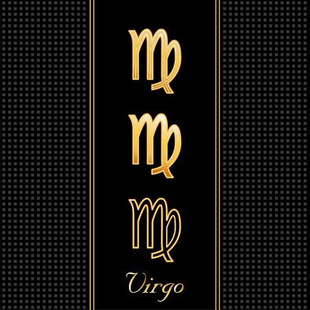 virgo zodiac sign: Virgo Astrology Symbols, three silhouette signs, black textured background