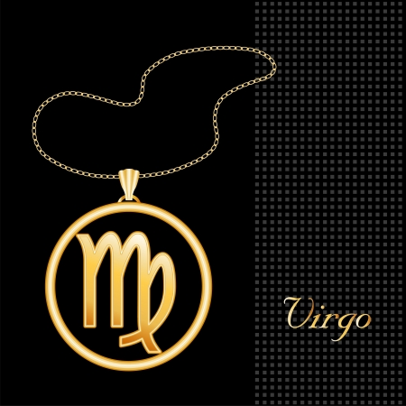 virgo the virgin: Virgo Gold Necklace and Chain, astrology earth sign symbol silhouette, textured black background