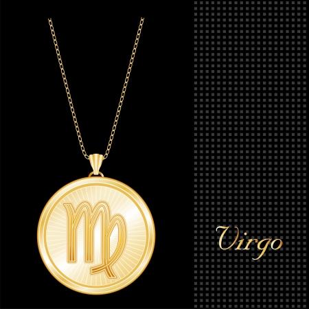 virgo: Colgante Collar de Oro de Virgo y la cadena, grabado el símbolo astrológico signo de tierra, estrella estalló patrón de diseño, fondo negro con textura Vectores