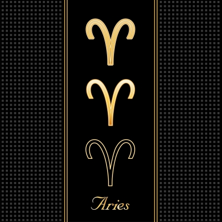Aries Astrology Symbols, three silhouette signs, black textured background Vector