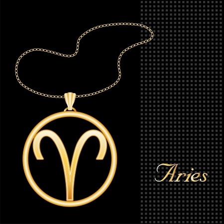 keepsake: Aries Gold Necklace and Chain, astrology fire sign symbol silhouette, textured black background  Illustration
