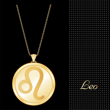 knickknack: Leo Pendant Gold Necklace and Chain, engraved astrology fire sign symbol, star burst design pattern, textured black background
