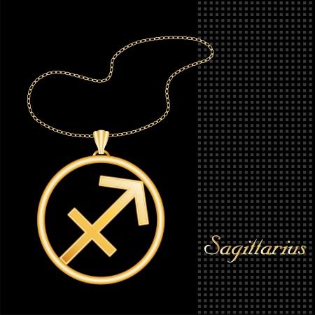 sagitario: Collar de Oro de Sagitario y la cadena, el fuego la astrología signo siluetas simbolo, fondo negro con textura