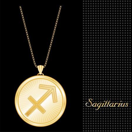 sagittarius: Sagittarius Pendant Gold Necklace and Chain, engraved astrology fire sign symbol, star burst design pattern, textured black background  Illustration