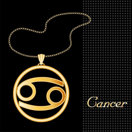 Cancer Gold Necklace and Chain, astrology water sign symbol silhouette, textured black background Vector