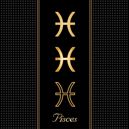 Pisces Astrology Symbols, three silhouette signs, black textured background Vector
