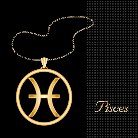 gold necklace: Pisces Gold Necklace and Chain, astrology water sign symbol silhouette, textured black background