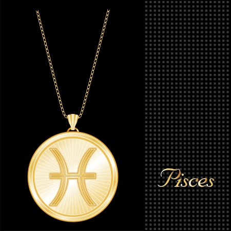 Pisces Pendant Gold Necklace and Chain, engraved astrology water sign symbol, star burst design pattern, textured black background  Vector