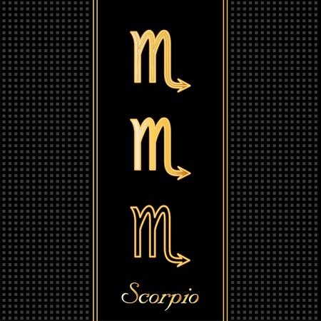 Scorpio Astrology Symbols, three silhouette signs, black textured background Vector