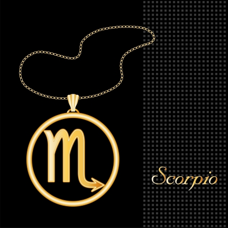 gold necklace: Scorpio Gold Necklace and Chain, astrology water sign symbol silhouette, textured black background  Illustration