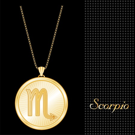 Scorpio Pendant Gold Necklace and Chain, engraved astrology water sign symbol, star burst design pattern, textured black background Illustration