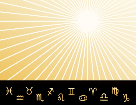 fortune telling: Astrology Poster, copy space, twelve gold horoscope symbols, gold ray star burst pattern background