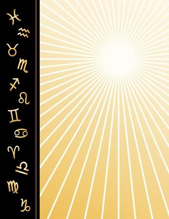 Astrology Poster, copy space, twelve gold horoscope symbols, gold ray star burst pattern background