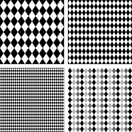 Seamless Harlequin Background Patterns, black, white, includes 4 pattern swatches that will seamlessly fill any shape  Stock Illustratie