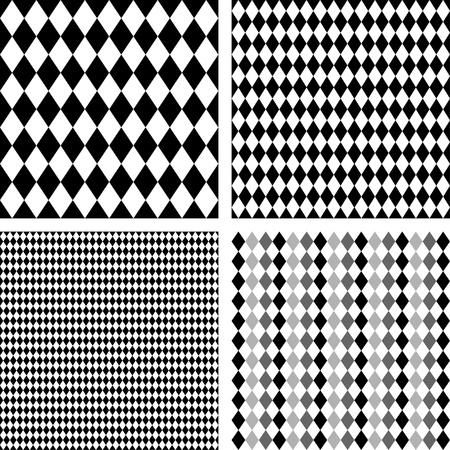 harlekijn: Naadloze Harlequin Achtergrond Patronen, zwart, wit, inclusief 4 patroonstalen die foutloos zal vullen het even welke vorm