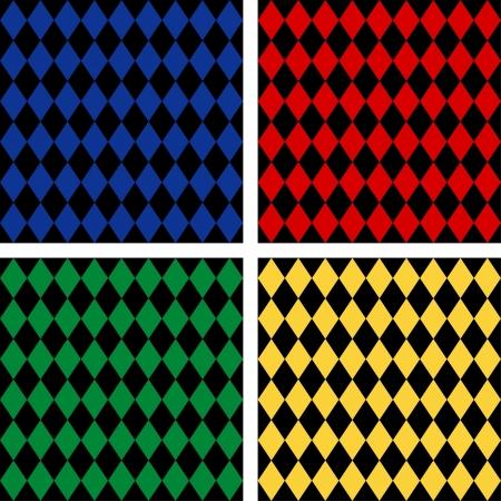 arlecchino: Seamless Background Patterns Harlequin, comprende 4 campioni di pattern senza soluzione di continuità che riempiono qualsiasi forma