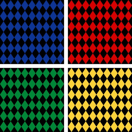 harlequin: Seamless Harlequin Background Patterns, includes 4 pattern swatches that will seamlessly fill any shape  Illustration