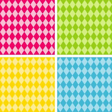 Los patrones de fondo sin fisuras Arlequín, incluye 4 muestras de motivos que la perfección se llenan de cualquier forma Ilustración de vector