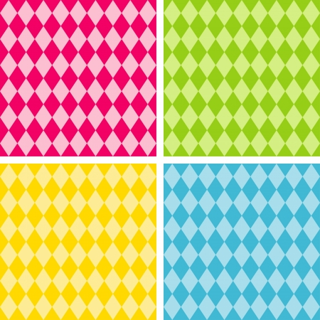 Seamless Harlequin Background Patterns,  includes 4 pattern swatches that will seamlessly fill any shape  Stock Illustratie