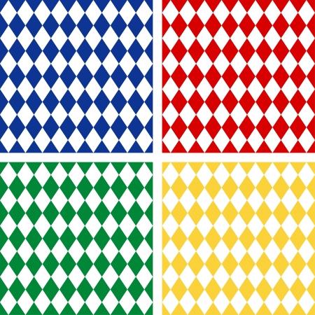 harlekijn: Naadloze Harlequin Achtergrond Patronen, omvat 4 patroonstalen die foutloos zal vullen het even welke vorm Stock Illustratie