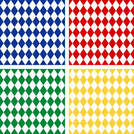 Seamless Harlequin Background Patterns, includes 4 pattern swatches that will seamlessly fill any shape  Vector