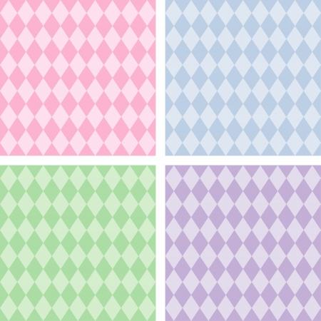 arlecchino: Seamless Background Patterns Harlequin, pastelli, comprende 4 campioni di pattern senza soluzione di continuità che riempiono qualsiasi forma Vettoriali