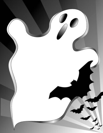 Halloween Ghost Poster with bats, copy space for holiday parties, announcements, fliers, scrapbooks