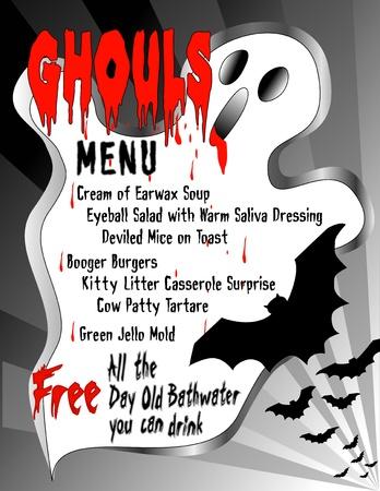 grosse: Menu humoristique pour Ghouls 'Halloween, offrant des aliments bruts, le sang, les chauves-souris et tout l'eau du bain journ�e libre vieille que vous pouvez boire Illustration