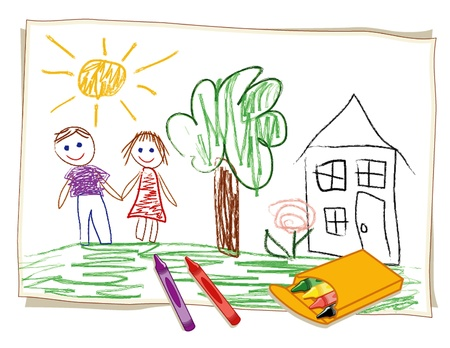 child s: Child s Crayon Drawing, happy boy and girl, house, sunny landscape