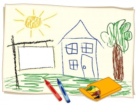 Blanco Real Estate Sign, kind s krijttekening, huis in het zonnige landschap