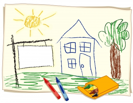 repossession: Blank Real Estate Sign, child s crayon drawing, house in sunny landscape