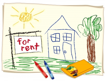 For Rent Real Estate Sign, child s crayon drawing, house in sunny landscape