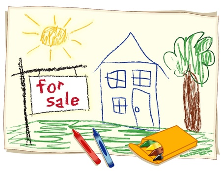 foreclosure: For Sale Real Estate Sign, child s crayon drawing, house in sunny landscape