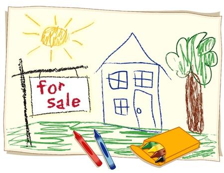 Te Koop Real Estate Sign, kind s krijttekening, huis in het zonnige landschap