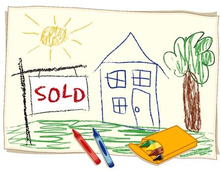Verkocht Real Estate Sign, kind s krijttekening, huis in het zonnige landschap Stockfoto - 14119454