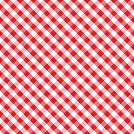 Seamless Cross Weave Gingham Pattern in red and white includes pattern swatch that will seamlessly fill any shape  Stock Illustratie